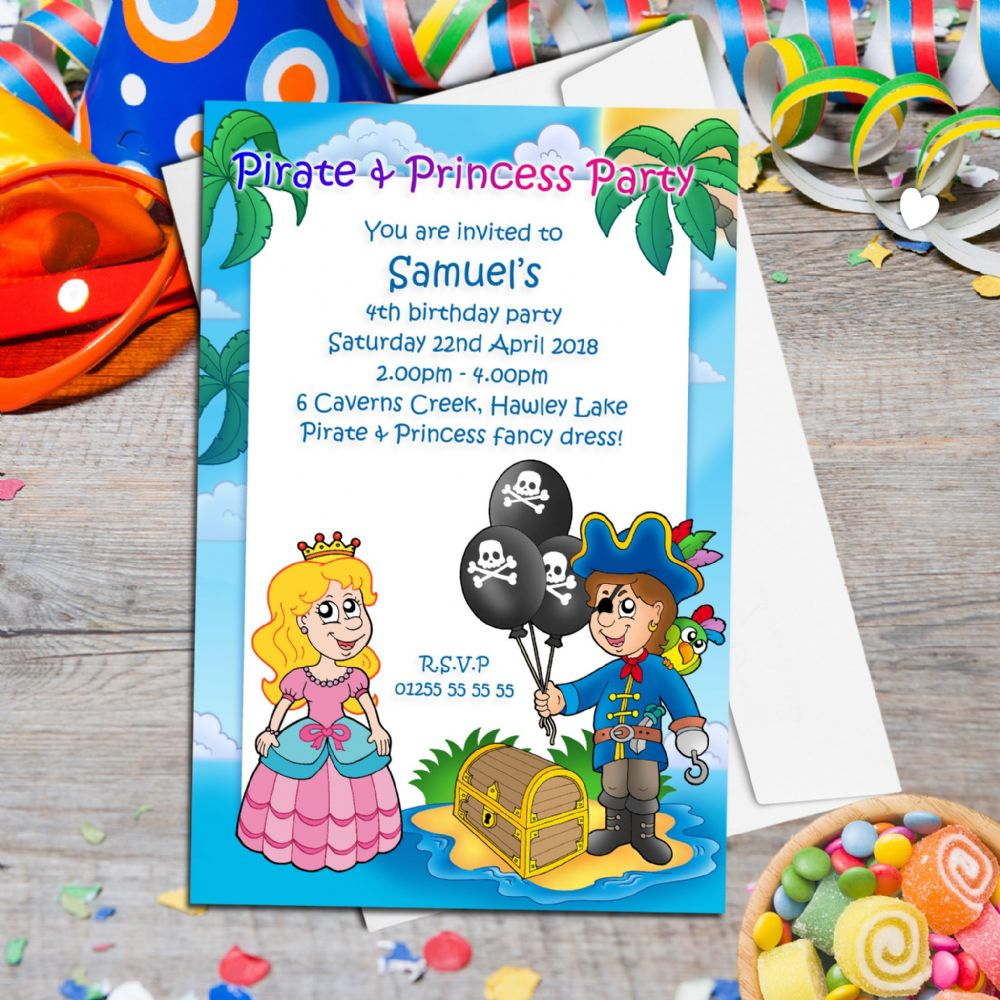 10 personalised pirate and princess birthday party invitations n22 filmwisefo